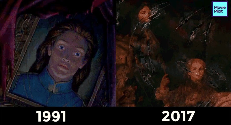 a side by side shot comparison of beauty and the beast