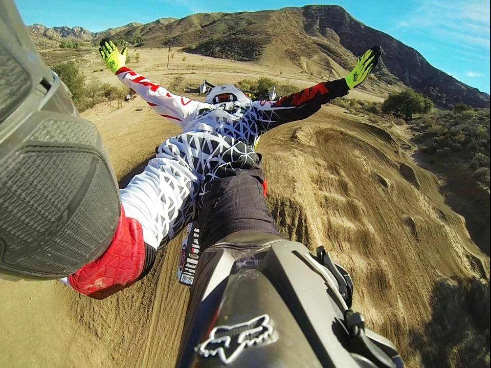 This is the coolest view I've ever seen of a motorbike jump