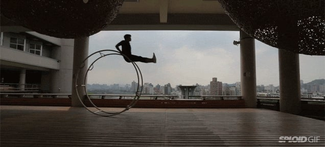This human hamster wheel is like its own personal roller coaster