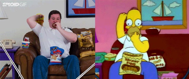 Watch this guy perfectly recreate Homer Simpson eating in real life