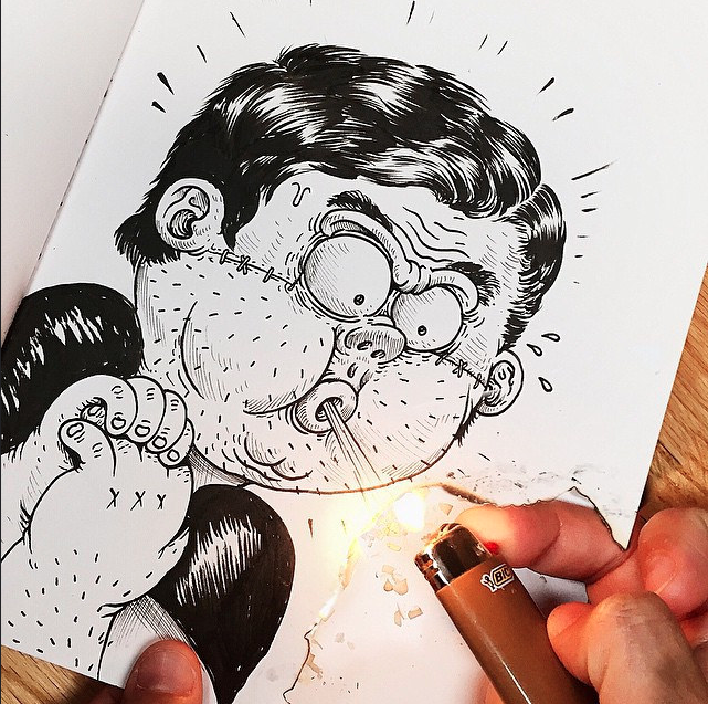 Fun illustrations of a cartoon fighting his creator