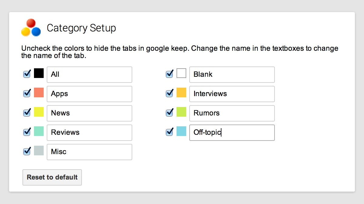 Beef Up Google Keep With Category Tabs