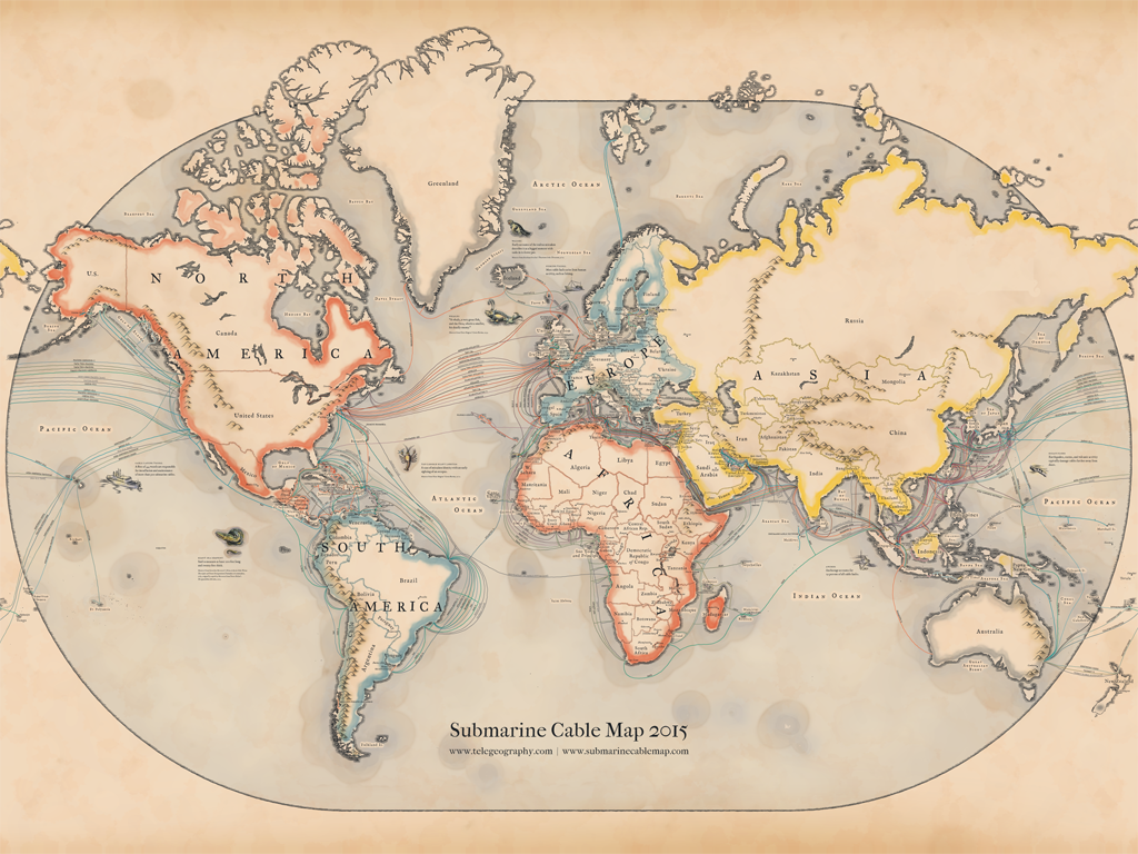 See How Data Moves With This Vintage-Inspired Map of Submarine Cables