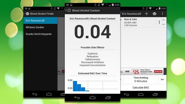 Blood Alcohol Finder Estimates Your BAC Over Time Based on Your Drinks