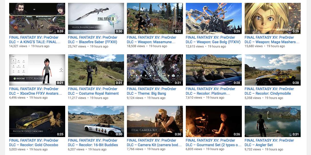 Final Fantasy XVHas 16 Different Pre-Order DLC Trailers