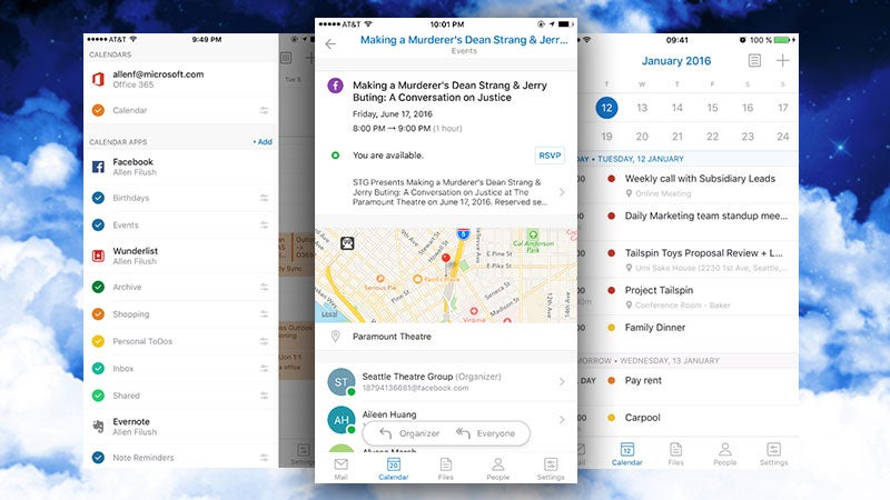 Outlook for Android and iOS Adds Facebook, Wunderlist, and Evernote Calendars