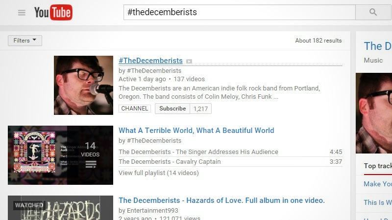 Quickly Find An Artist's Music-Only YouTube Videos With A Hashtag Search