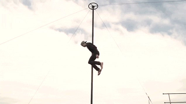 These Guys Doing Crazy Tricks on a Pole Must Have Magnetic Superpowers