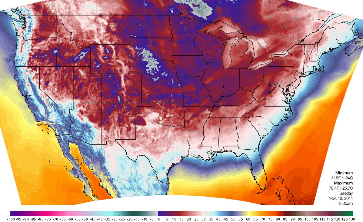 Map of record-breaking cold blanket covering the US