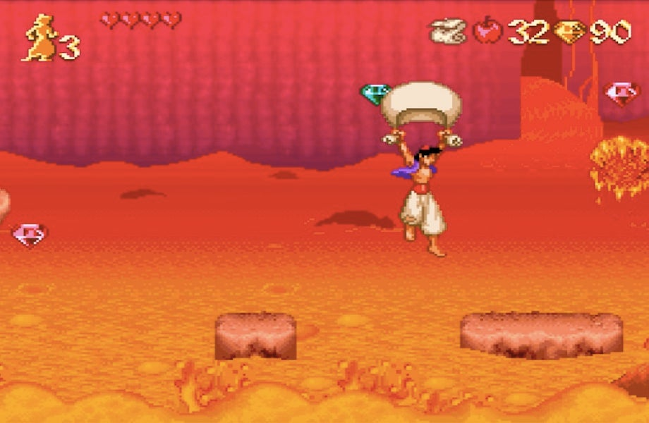 For the second half, he rides his Magic Carpet while being chased by a massive wave of lava.