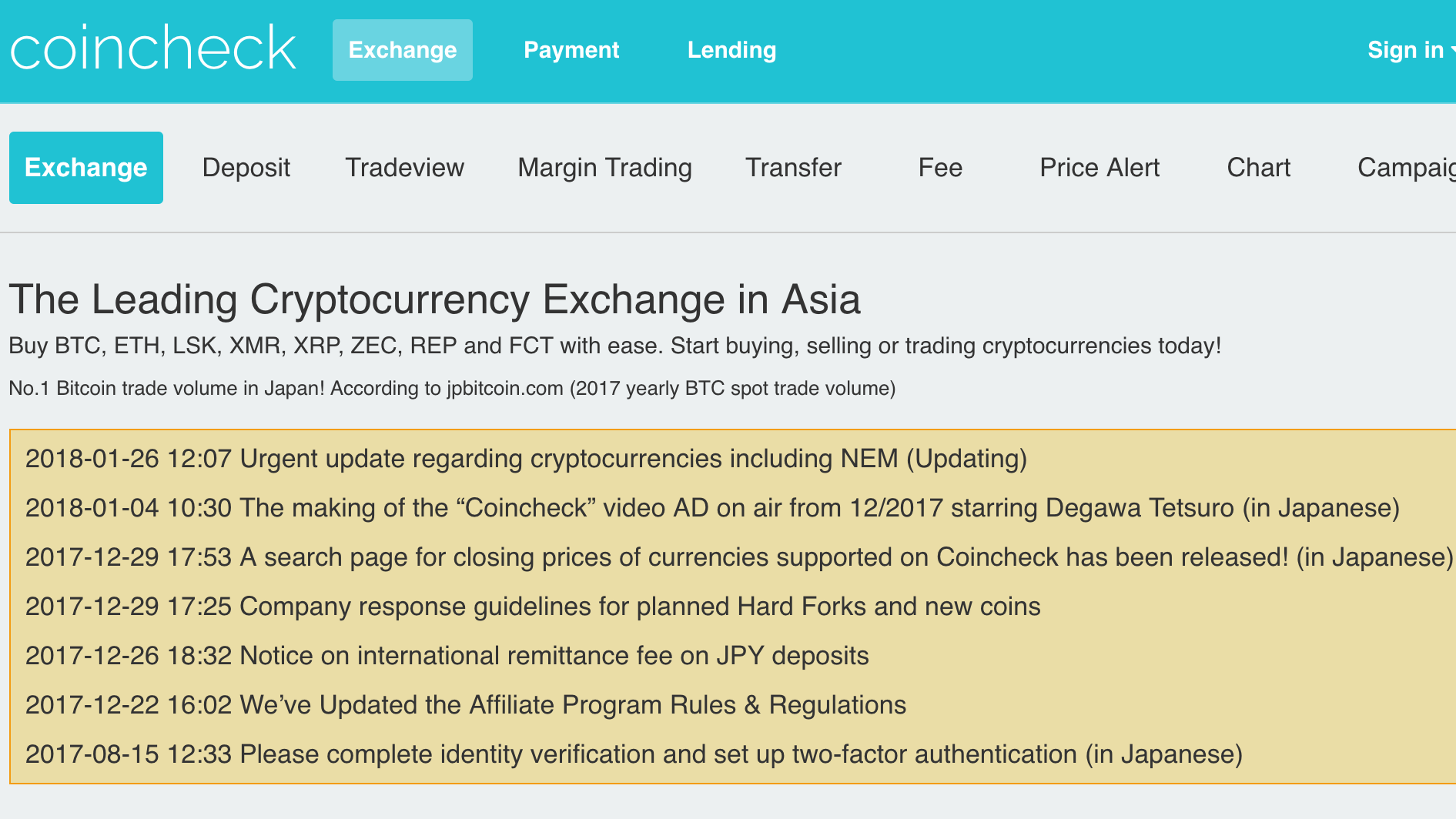 $500 Million Goes Missing From Japanese Crypto Exchange Coincheck