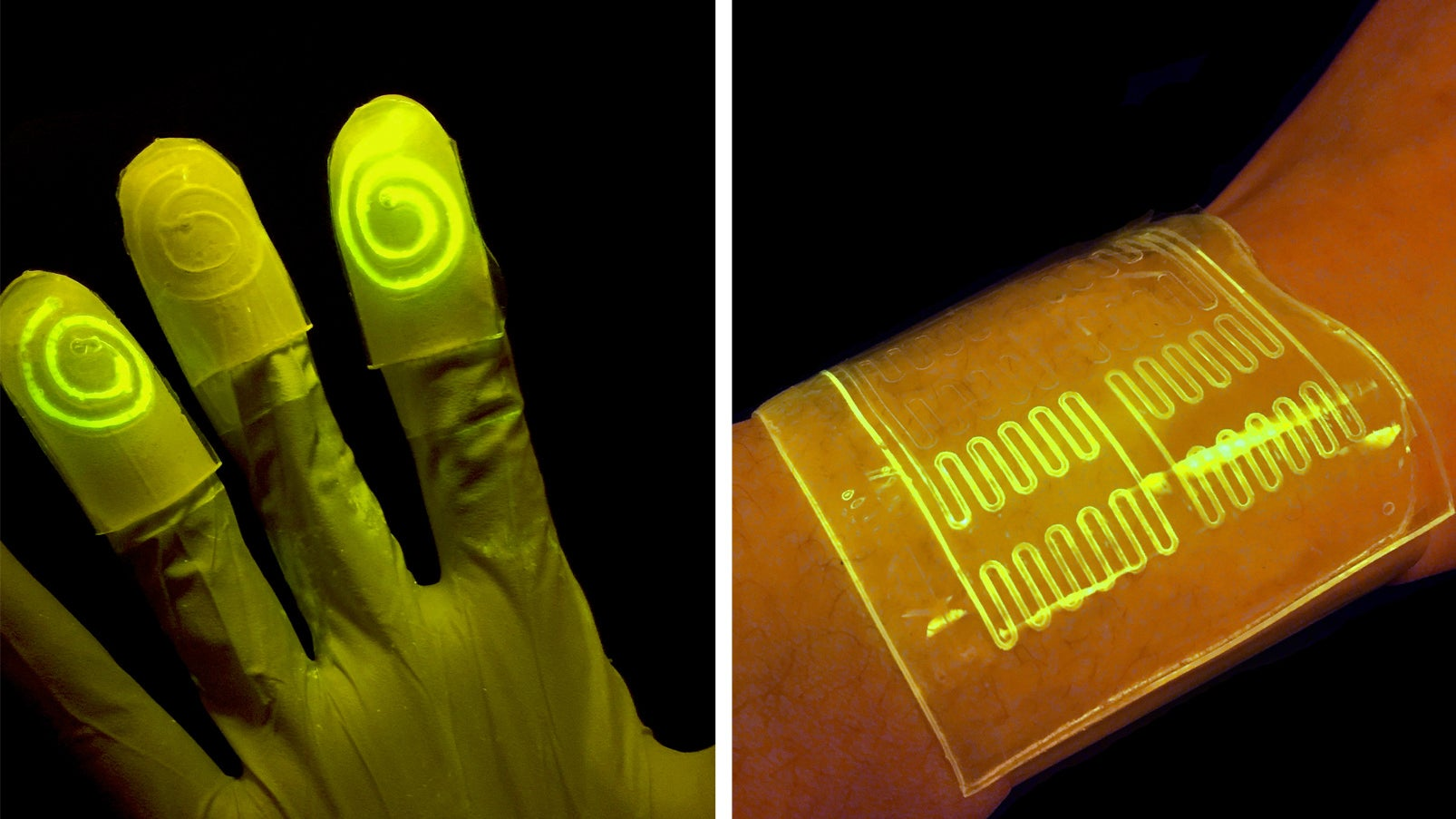 These 'Living' Gloves Glow When You Touch Certain Chemicals