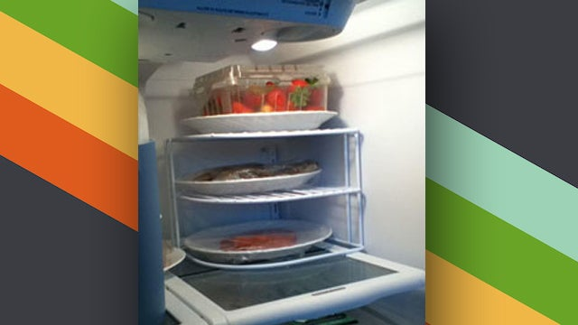 use a plate organiser in the refrigerator to add extra shelves rh lifehacker com au shelves for samsung fridge shelves for fridge freezers lg