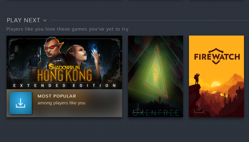 Steam's New 'Play Next' Recommendation Feature Mostly Sticks To Hits