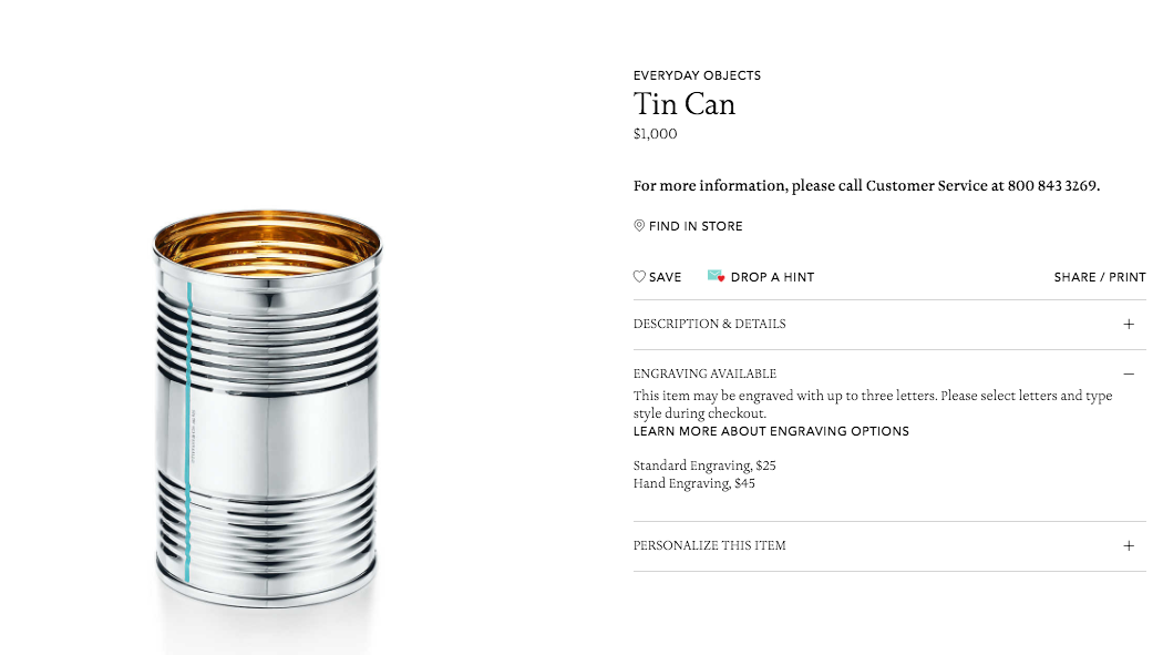 Why Buy An iPhone X When You Can Pay Tiffany & Co. $1300 For A Tin Can?