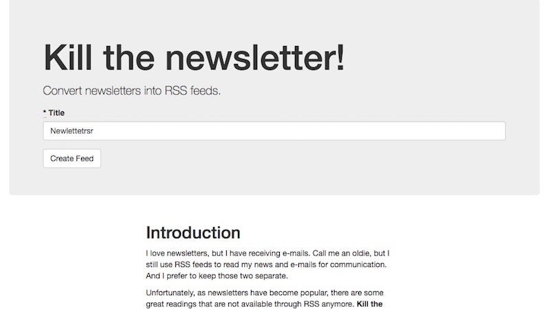 Kill The Newsletter Converts Newsletter Subscriptions Into RSS Feeds