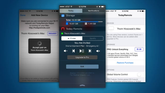 TodayRemote Controls Your Mac's Music from the iOS Notification Center