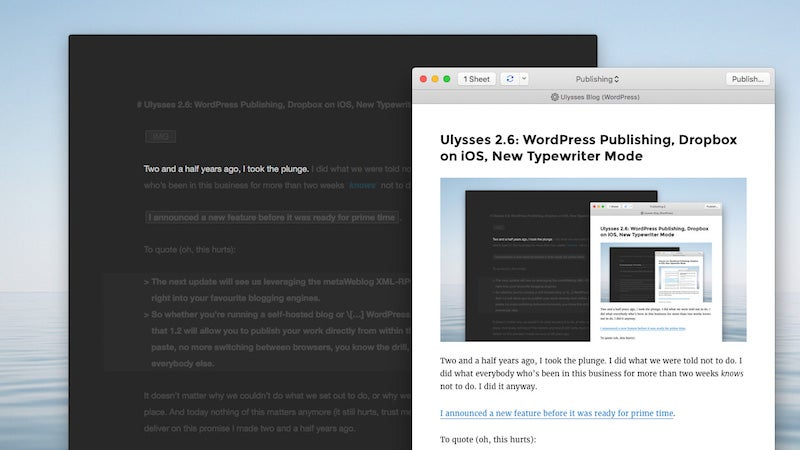Ulysses Adds Dropbox Syncing Support And Typewriter Mode On iOS