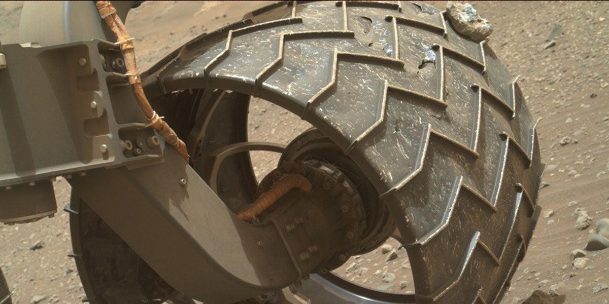 Curiosity Has a Rock Wedged In Its Wheel