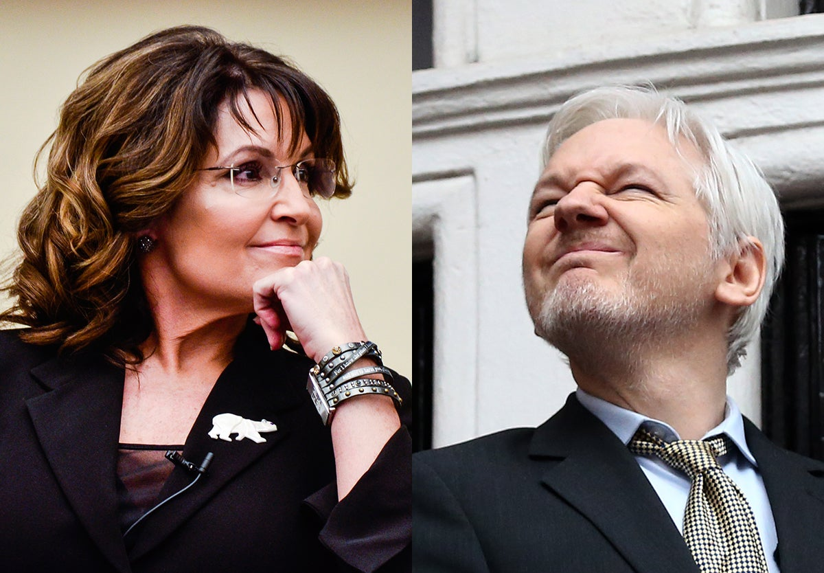 Sarah Palin Says Julian Assange Is Good Now, Recommends Watching Snowden