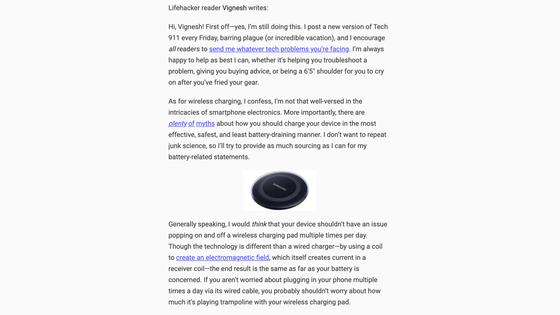 "Screenshot: <a href=""https://www.lifehacker.com.au/2019/04/is-it-safe-to-leave-my-smartphone-on-my-wireless-charger/"">Lifehacker</a>"