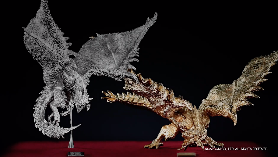 Gold And Platinum Monster Hunter Sculptures For Only $118,000 Each
