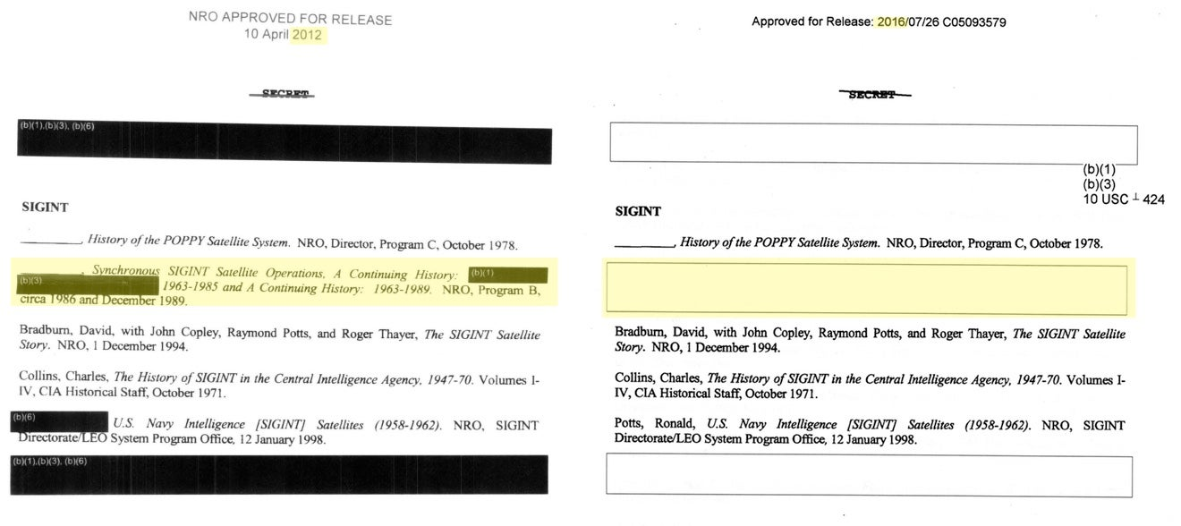 National Reconnaissance Office Redacts Paper That Was Public Four Years Ago