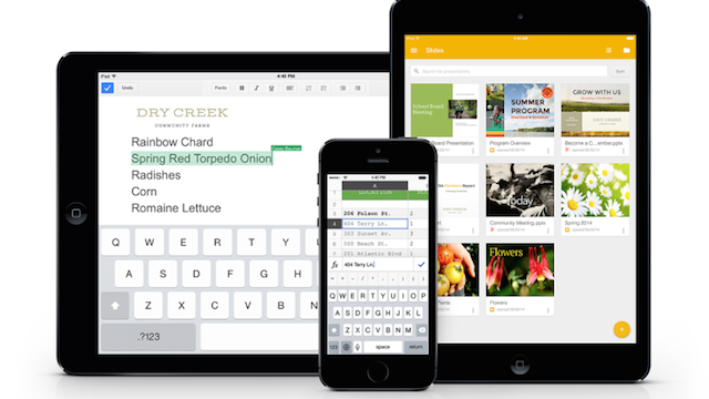 Google Adds Office Editing to Docs and Sheets for iOS, Releases Slides