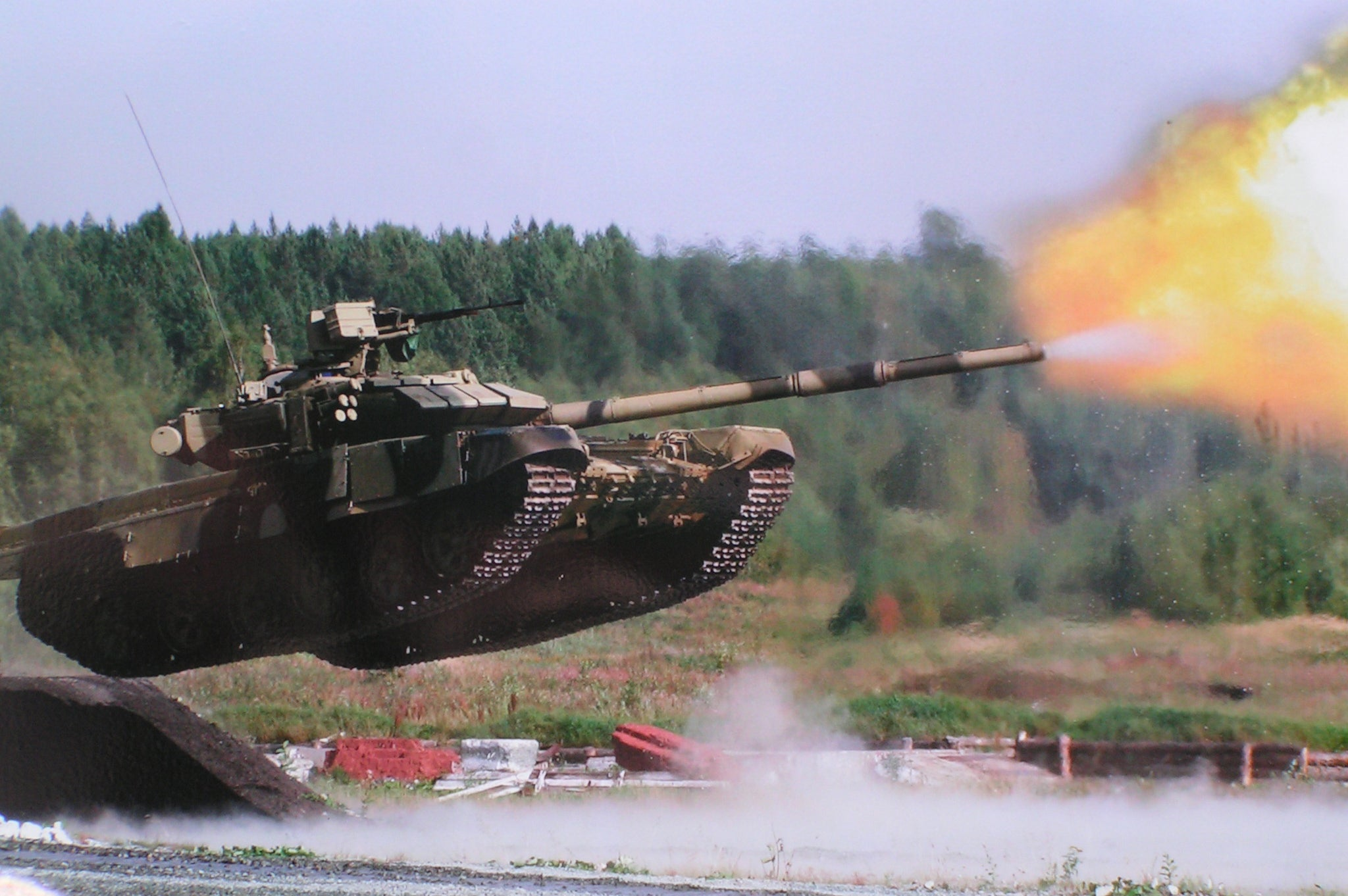 Flying tank fires its cannon