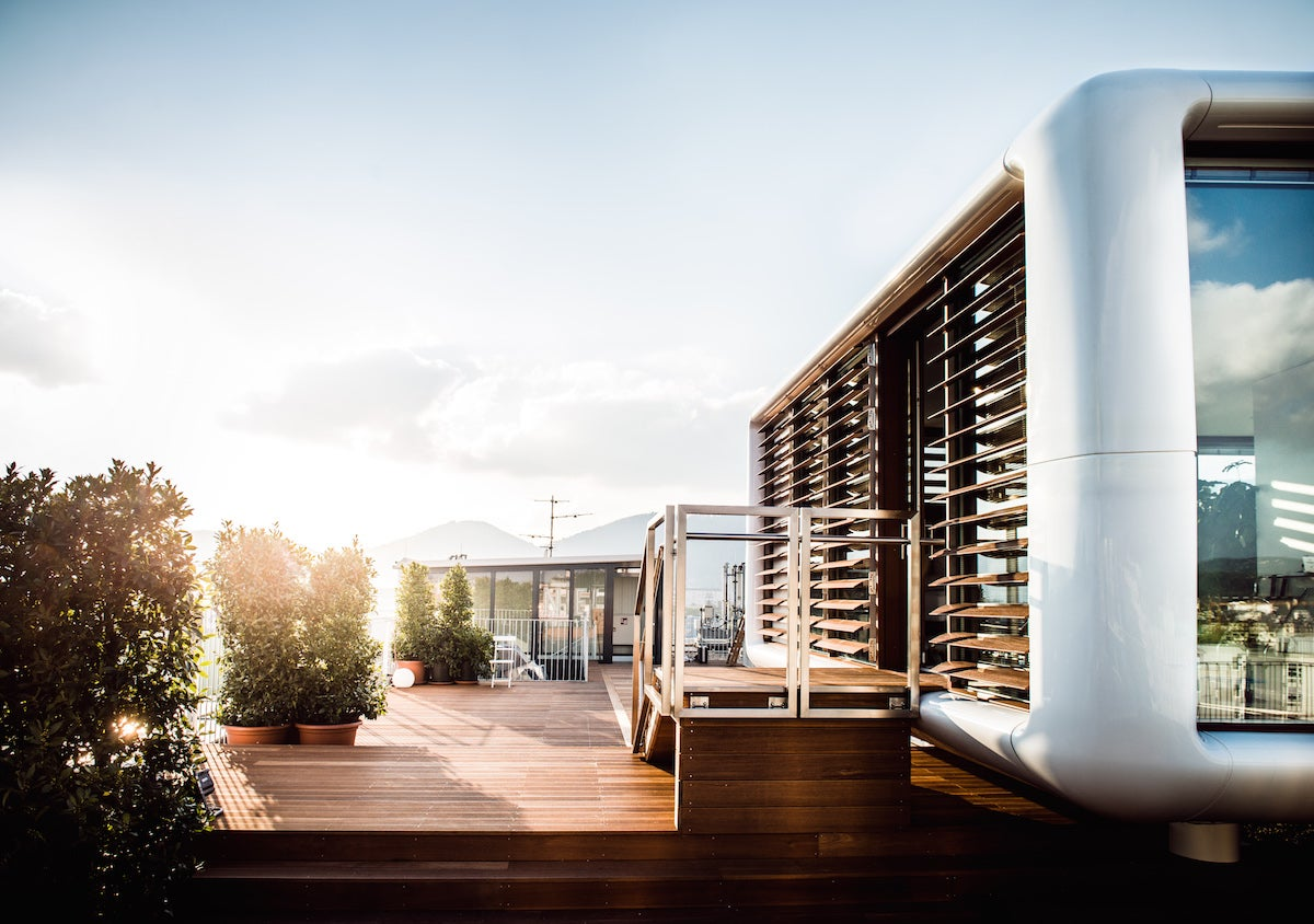 This Tiny Hotel Pod Sits on the Roof of a 60-Year-Old Historic Building