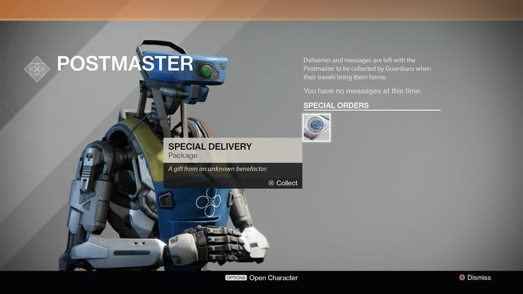 What Legendary Gift Did Destiny's 'Unknown Benefactor' Give You Today?