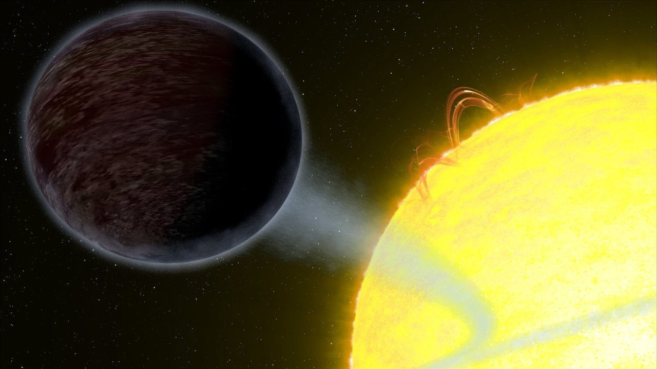 A pitch-black planet orbits an alien star 1400 light-years away