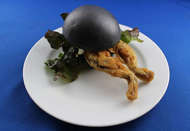 Black bun fried frog burger looks scary but is probably delicious