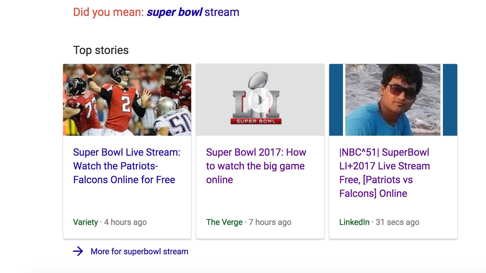 Superbowl Spammer Tricks Google's Top Stories Module