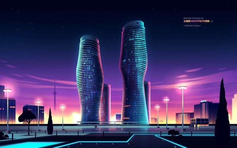 8 of the World's Coolest Skyscrapers Rendered Like 1980s Futurist Art
