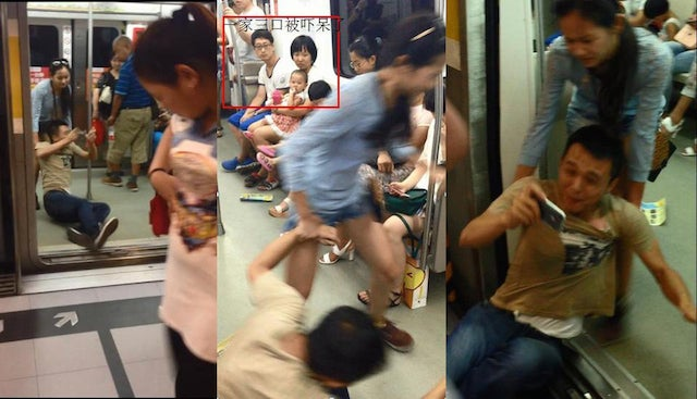 Smartphone Gamer Dragged Through the Subway