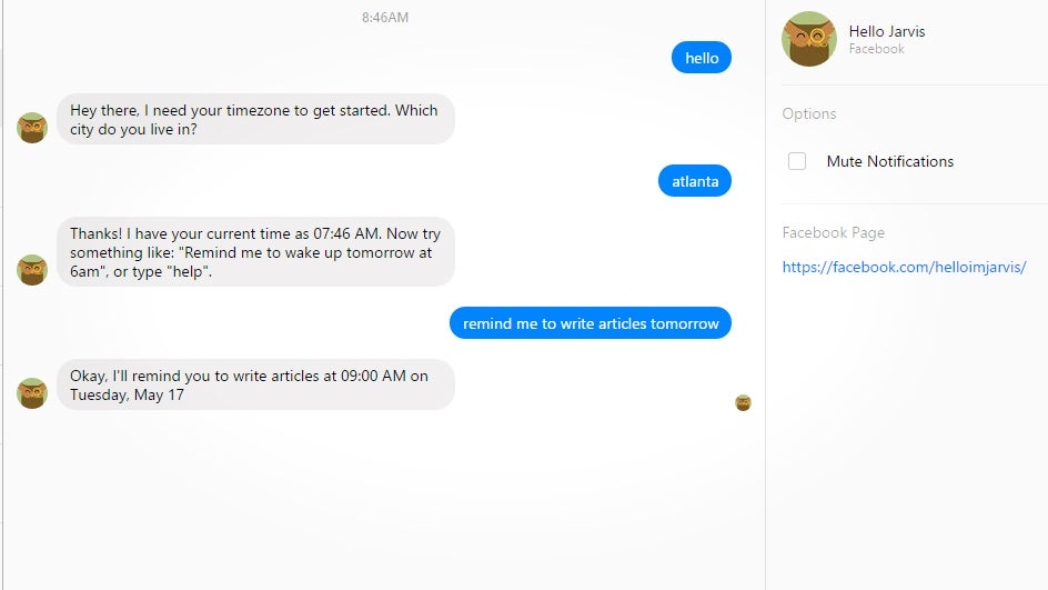 Jarvis Is A Facebook Chat Bot That Can Handle Your Reminders