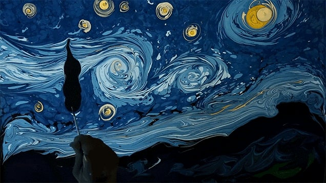 Recreating Van Gogh's Starry Night By Swirling Paint on Water Is Pretty Incredible