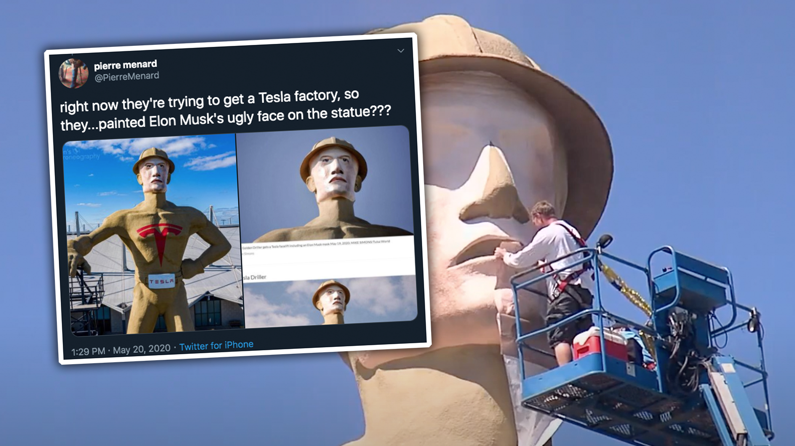 Tulsa Dresses Up Their Big Creepy Statue To Look Like Big Creepy Elon Musk In Hopes Of Getting The Cybertruck Mill