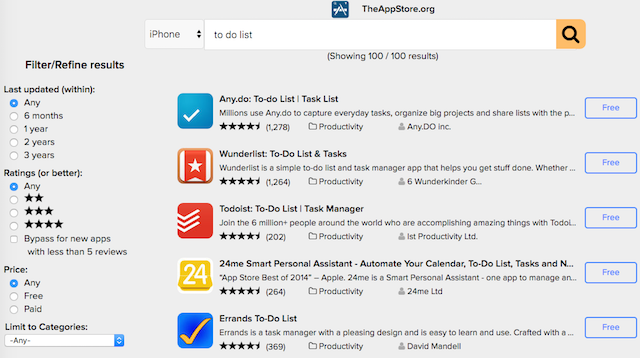 TheAppStore Searches iTunes And The Mac App Store With Age, Price And Rating Filters
