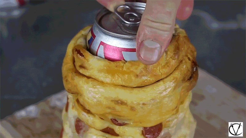 Making an Edible Pizza Beer Koozie Is the Only Kitchen Skill You Need