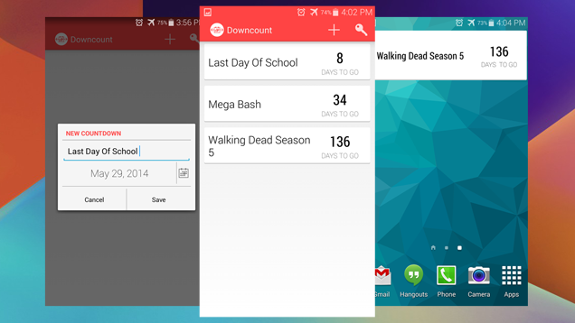 Downcount For Android Tracks Daily Countdowns To Important Events