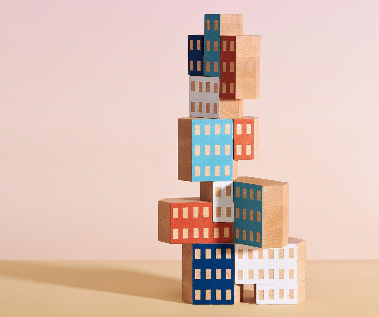 Irregular-Shaped Building Blocks Let Kids Build Ultra-Modern Skyscrapers