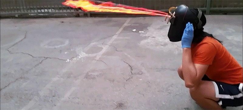 Terrifying Helmet Doubles as Flamethrower