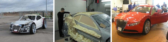 Stripped car transforms into exotic sports car with magic foam