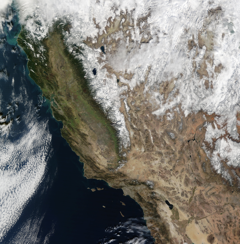 This Photo of a Completely Cloudless California Shows its Snowpack Starting to Return