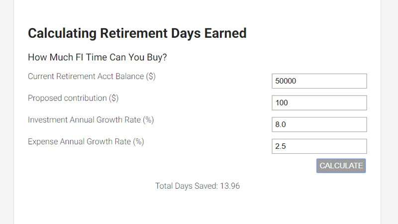 Find Out How Many Days Of Retirement Your Contributions Can Buy With This Tool