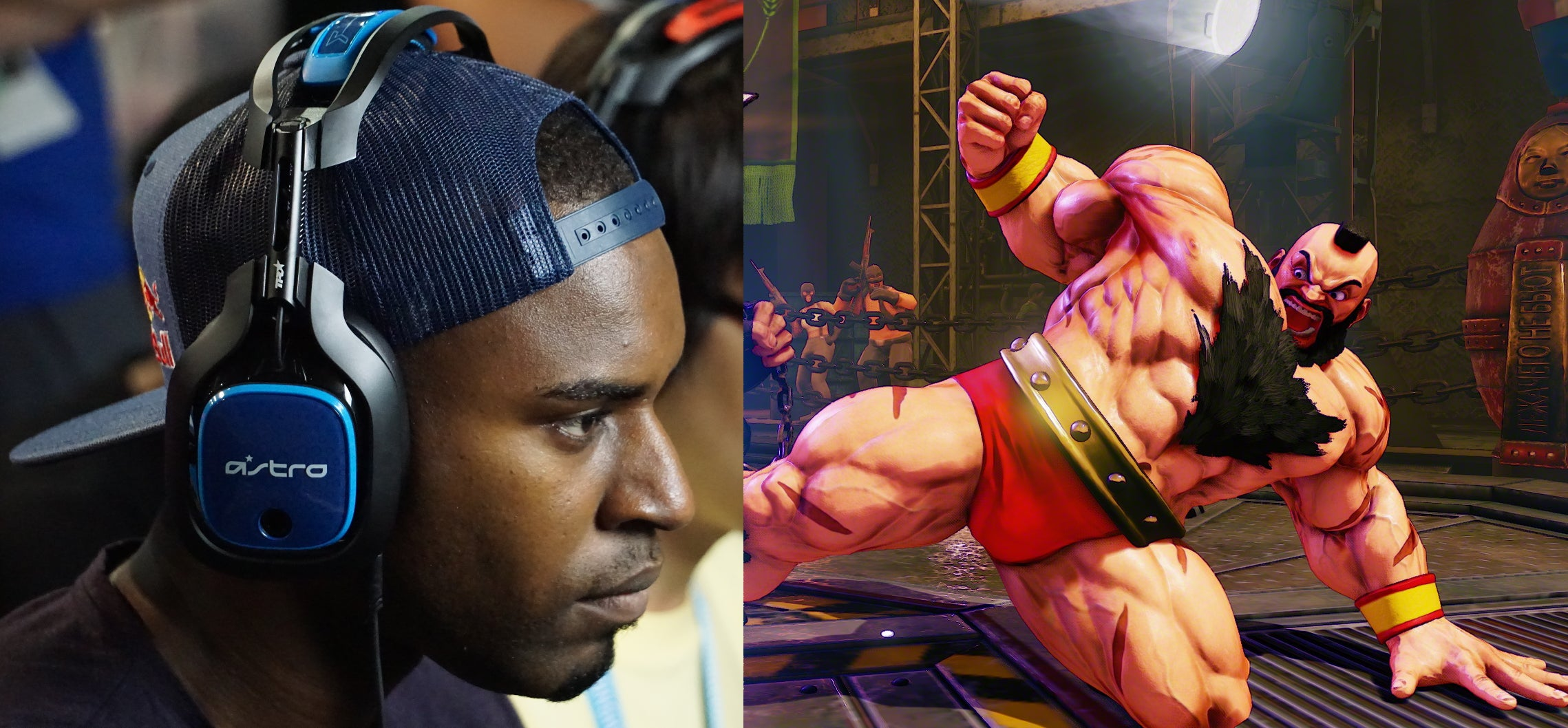 Snake Eyez Stands By Street Fighter's Massive Bear Hug Man
