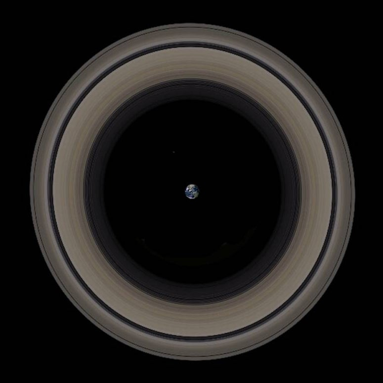 Impressive image of Earth surrounded by Saturn's rings