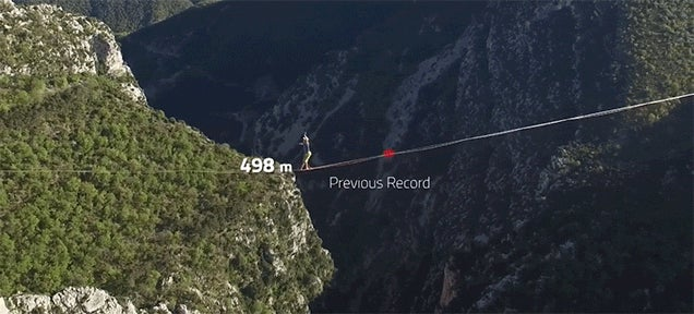 Walking a Record-Breaking 1,019.86m on a Slackline Over Mountains Is Truly Crazy